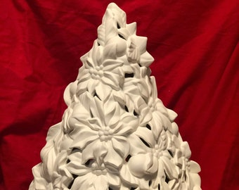 Rare Large Atlantic Ceramic Poinsettia tree and lamp base with holes for lights in bisque ready to paint