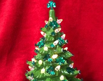 Glazed Ceramic Saint Patrick Day Tree with lights and Shamrocks