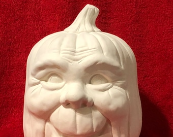 Happy Pumpkin in ceramic bisque ready to paint