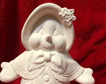 Clay Magic's Snow Lady in ceramic bisque ready to paint