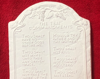 Very Rare, The Ten Commandments in ceramic bisque ready to paint.