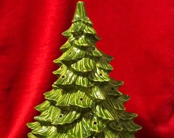 Foliage Green Glazed Medium Doc Holliday Ceramic Christmas Tree and base with holes for lights