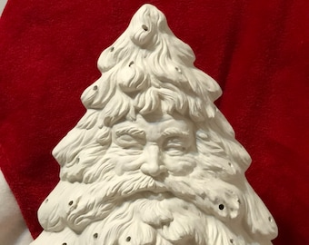 Ceramichromes Santa Face Christmas Tree and base with holes for lights