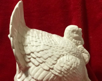 Milk Glass Glazed Ceramic Turkey