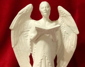 Ceramic Milk Glass Glazed Caroling Angel