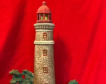 Dry Brushed ceramic Lighthouse with hole for light