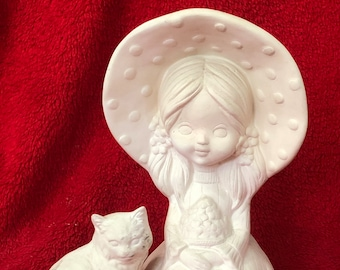 Vintage 2 Piece Set Little Girl with Kitty Cat in ceramic bisque ready to paint