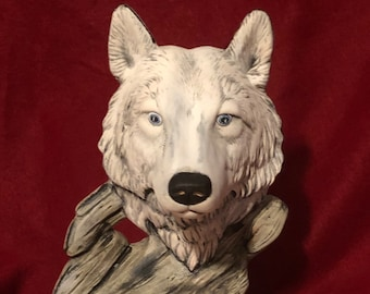 Dry Brushed Ceramic White Emerging Wolf using Mayco Softee Stains