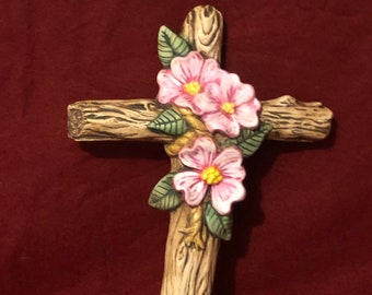 Antiqued and dry brushed Ceramic Dogwood Cross