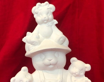 Clay Magic's Ceramic Male Strawberry Bear in bisque ready to paint