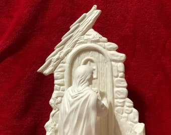 Jesus Knocking at the Door, 3 piece set, in ceramic bisque ready to paint