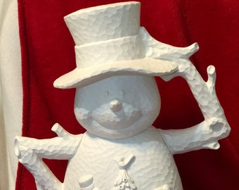 Hammered Finish Snowman  in ceramic bisque ready to paint with holes for bulbs