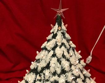 Very Rare Gare Molds Glazed Ceramic Evergreen Christmas Tree with lamp bowl by jmdceramicsart