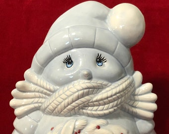 Sheer Blue Glazed Ceramic Cuddle Up Snowman