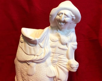 Hillbilly Fisherman in ceramic bisque ready to paint