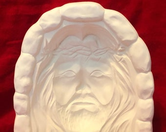 Jesus Hologram with hole for light in ceramic bisque ready to paint