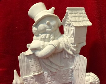 Ceramic Snowman Fence with bird and birdhouse in bisque ready to paint
