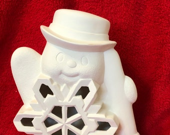 Clay Magics Snowflake Snowman and base with holes for lights in ceramic bisque ready to paint (base pic coming soon)