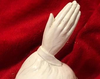 Vintage Milk Glass Glazed Ceramic Praying Hands