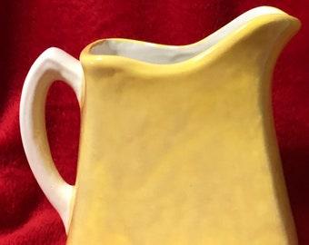 Rare Old Fashioned Ceramic Buttermilk Jug Glazed with Yellow Sunflower and a Milk Glass Glazed Handle