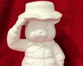 Camouflage Bear in ceramic bisque ready to paint
