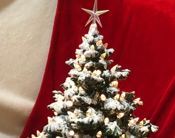 Luster Green Glazed Frazier Fir with snow, clear lights, star and base