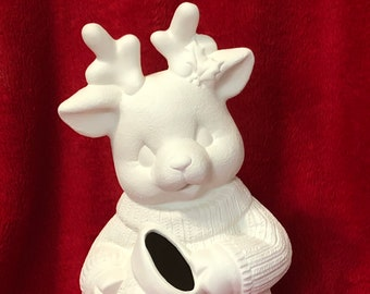 Clay Magic's Christmas Reindeer Candy Cane Holder in ceramic bisque ready to paint