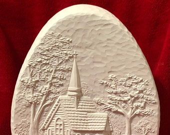 Ceramic Whittled Egg with Church Scene in bisque ready to paint