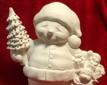 Clay Magic's Ceramic Jack the Snowman Santa with holes in the tree for lights in bisque ready to paint