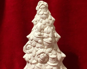 Snowman Christmas Tree in ceramic bisque ready to paint