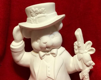 Clay Magic's Ceramic Boy St. Patricks Day Bear in bisque ready to paint