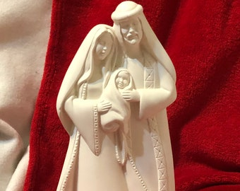 Ceramic Mary, Joseph and baby Jesus in bisque ready to paint