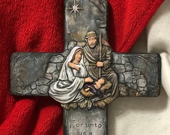 Dry Brushed Ceramic Nativity Cross using Mayco Softee Stains