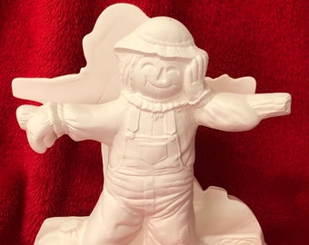 Scarecrow  Napkin Holder in ceramic bisque ready to paint by Duncan Molds