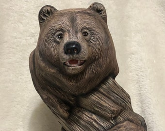 Dry Brushed Driftwood Bear using Mayco Softee Stains