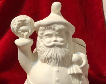 Vintage Ceramic Santa Cookie Jar in bisque ready to paint