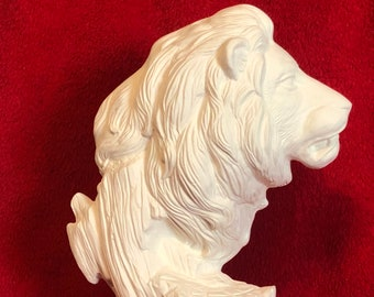 Driftwood Lion in ceramic bisque ready to paint