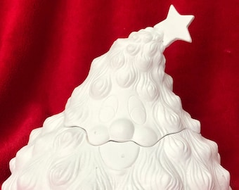 Very Rare Christmas Tree Candy Dish in ceramic bisque ready to paint