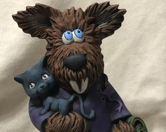 Ceramic New Clay Magic Wolfgang the Werewolf dry brushed using Mayco Softee Stains