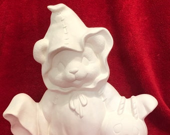 Clay Magic's Female Halloween Bear in ceramic bisque ready to paint