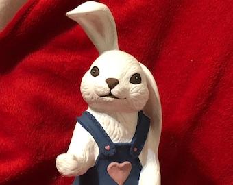 Vintage Dry Brushed Ceramic Rabbit
