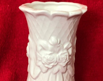 Rare Vintage Milk Glass Glazed Ceramic Rose and Ribbon Vase