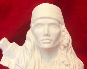 Indian Bust in ceramic bisque ready to paint