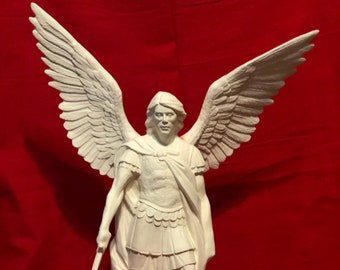Archangel Michael with wings in Ceramic Bisque ready to paint
