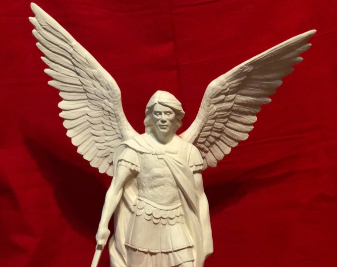Featured listing image: Archangel Michael with wings in Ceramic Bisque ready to paint