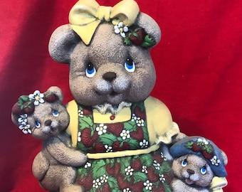 Clay Magic's Ceramic Dry Brushed Female Strawberry Bear