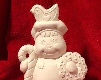 Ceramic Gingerbread Man with candy cane and wreath in bisque ready to paint