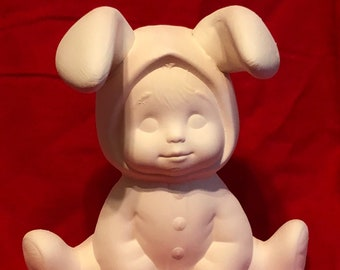 Dona's Sweet Tots Easter Bunny in bisque ready to paint