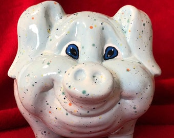Blue Speckled Piggy Bank with coin slot and rubber stopper