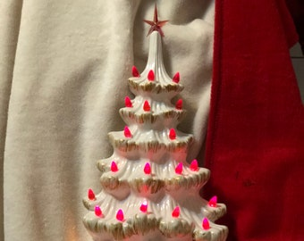 2 Piece Milk Glass Glazed Rare Atlantic Ceramic Wall Christmas Tree with Red Bulbs, Star and Brushed Gold